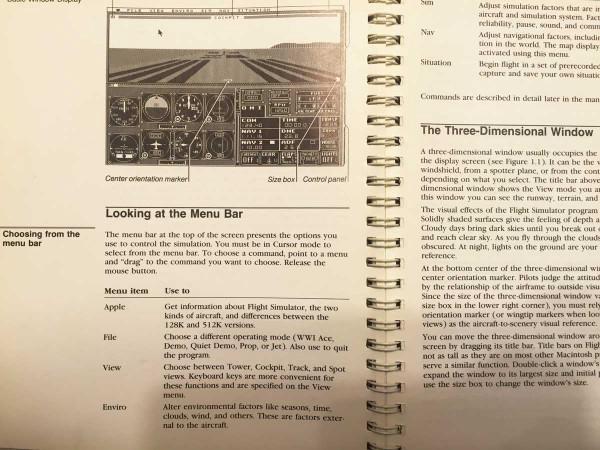 1980年代的「模擬飛行」手冊。